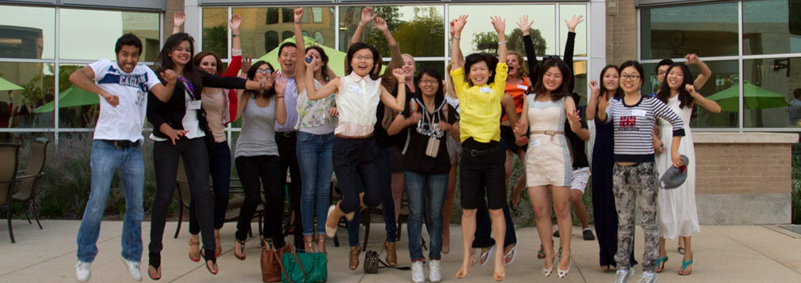 Image: Group of international students cheering