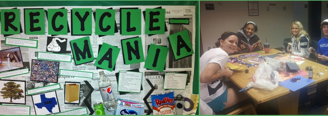 Two photos showing a group working on Recycle Mania