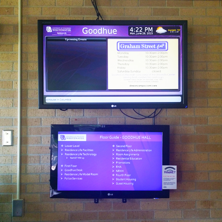 Two monitors mounted on a wall