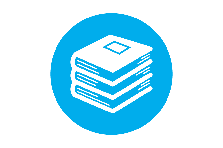 Stack of white books on blue background.