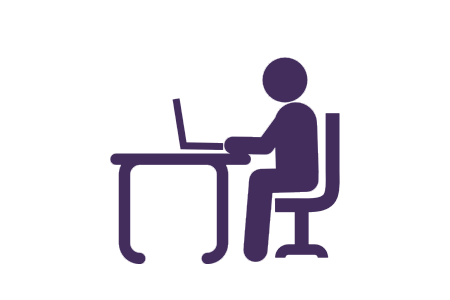 UW-Whitewater student at desk icon