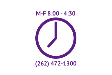 Hours: Mon-Fri, 8:00-4:30, Phone: 262-472-1300